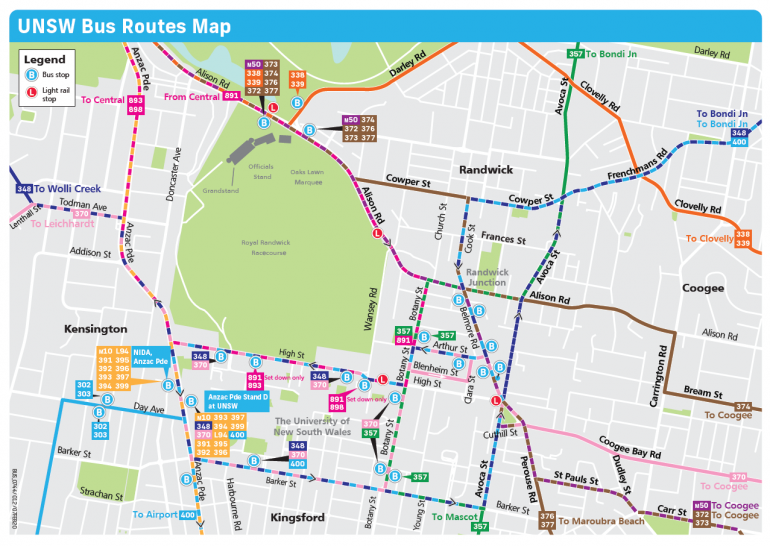 UNSW Bus routes map