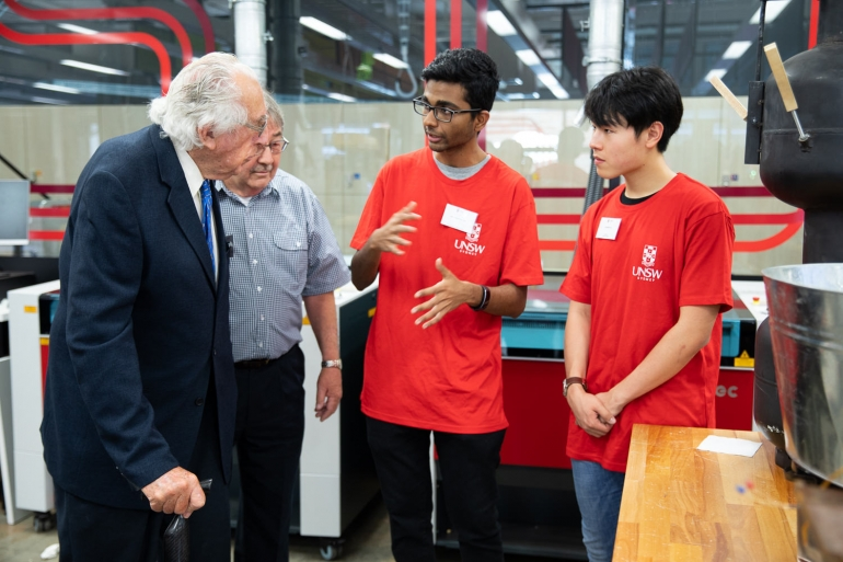 Engineering students speak with James Kirby