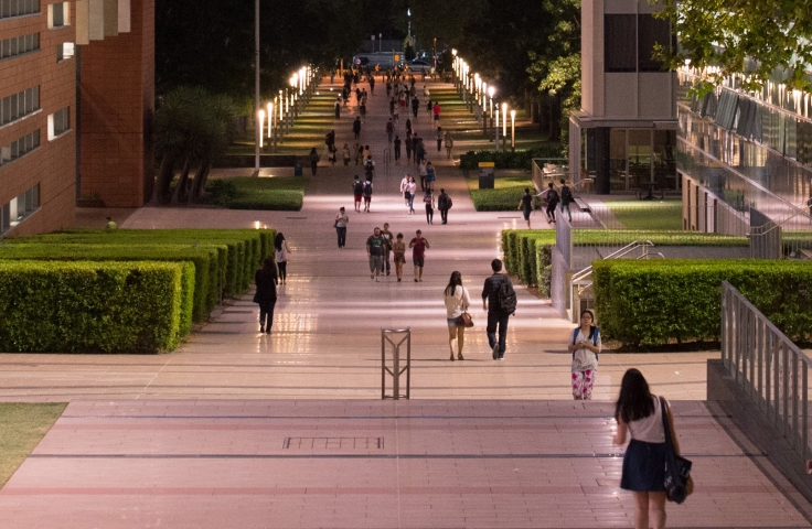 UNSW walkway at sunset